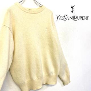 Saint Laurent - 美品 Yves Saint Laurent ニット 刺繍ロゴ セーター