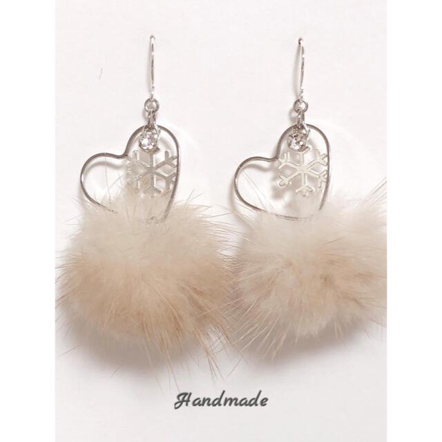 大人可愛い♡オープンハート 雪の結晶×ミンクファーピアス・イヤリング/シルバー ハンドメイドのアクセサリー(ピアス)の商品写真