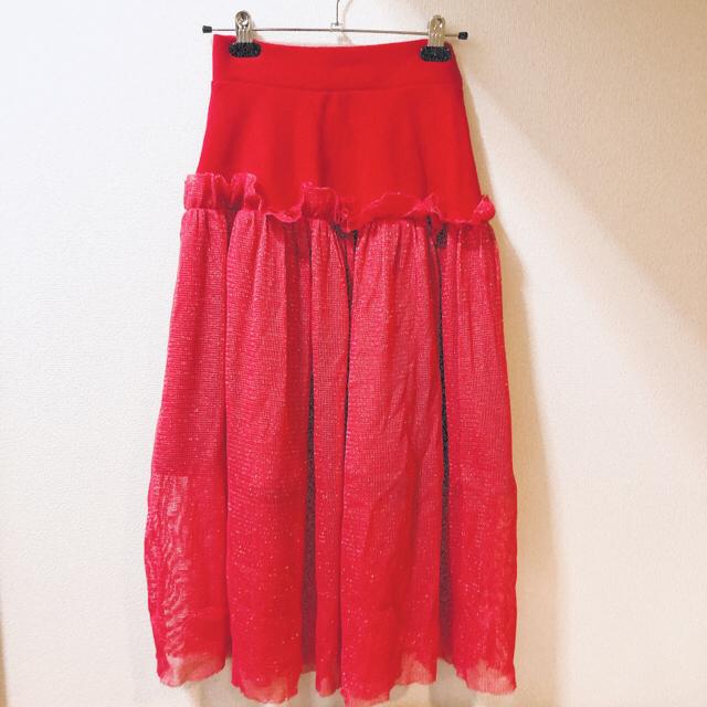 lilLilly(リルリリー)のlilLilly ♡ ラメフリルロングスカート 秋冬  コットン レッド レディースのスカート(ロングスカート)の商品写真