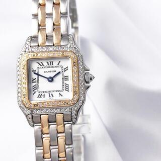 Cartier - 【仕上済】カルティエ パンテール SM コンビ 2ロウ ダイヤ 腕時計