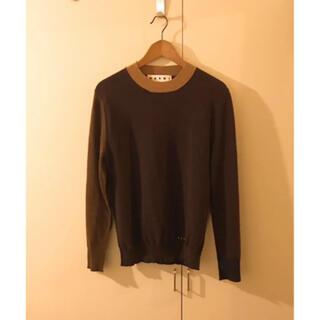 マルニ(Marni)のmarniマルニブロックカラーデザインニットセーター黒茶色ベージュバイカラー(ニット/セーター)