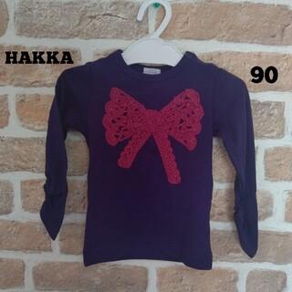 ハッカベビー(hakka baby)のHAKKA baby ハッカ 紺色 ビックリボン 刺繍 90㎝(Tシャツ/カットソー)