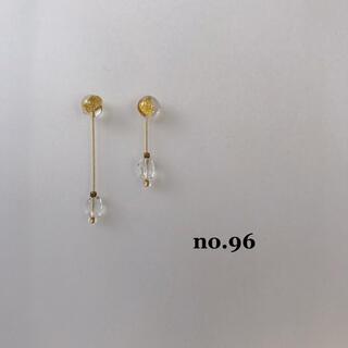 no.96 ガラス 水晶 天然石ピアス イヤリング(ピアス)