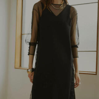 Ameri VINTAGE - Ameri TULLE DOCKING DRESS ブラック