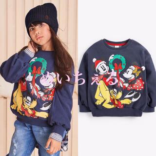 Disney - 【新品】ネイビークリスマスミッキーマウス クルーネックスウェットトップス(オール