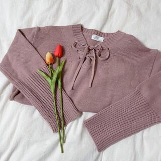 ピンクリボンニットセーター