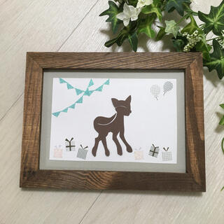 【ベビー&キッズカットアート】子鹿シルエット・コラボバージョン1(胎毛筆)