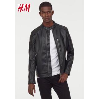 エイチアンドエム(H&M)の新品 安値 H&M シングル ライダース レザージャケット L(ライダースジャケット)