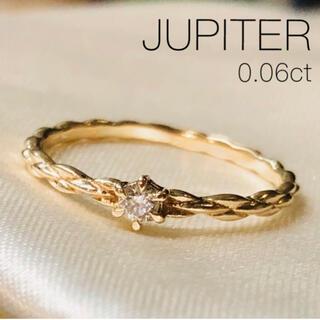 agete - 【JUPITER】K10YG Braided 一粒ダイヤモンドリング