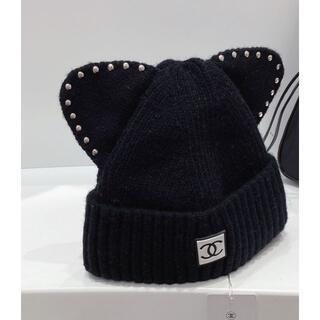 シャネル(CHANEL)のシャネル ブラック ニット帽 極美品!(ニット帽/ビーニー)