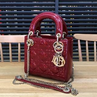 Christian Dior - 超美品 ディオール 現行 レディディオール 2WAYミニバッグ エナメル 赤
