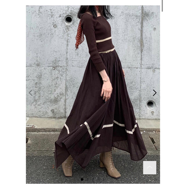 Lily Brown(リリーブラウン)のLily Brown ニット布帛ドッキングワンピース レディースのワンピース(ロングワンピース/マキシワンピース)の商品写真