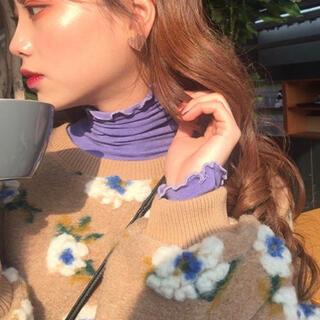 dholic - フラワーボアプルオーバー ベージュ 韓国ファッション
