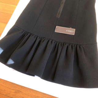 FOXEY - 定価12万♡FOXEY BOUTIQUE♡後ろ裾フリル♡ブラックドレス