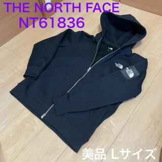 THE NORTH FACE - ノースフェイス スクエアロゴ フルジップ パーカー ブラック Lサイズ フーディ
