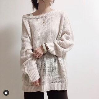 GU - GU  オーバーサイズセーター ベージュ M