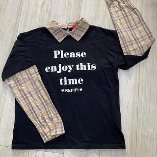 レピピアルマリオ(repipi armario)の試着のみ!レピピ、REPIPI、レイヤード風、トップス、黒、M、160(Tシャツ/カットソー)