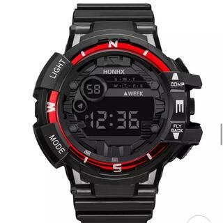 ◆HONHX メンズスポーツカジュアル腕時計◆【Black&Red】(腕時計(デジタル))
