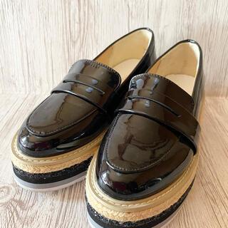 エスペランサ(ESPERANZA)のESPERANZAエスペランサ エナメルローファー ラメジュート厚底 黒 M(ローファー/革靴)