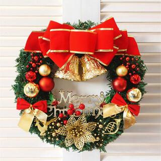 大人気 Xmas クリスマスリース リース インテリア オーナメント 赤 リボン
