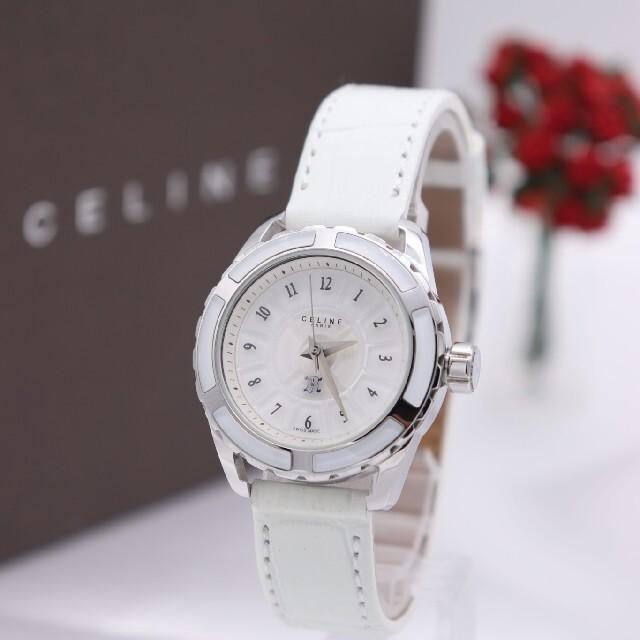 celine(セリーヌ)の箱付き【新品電池】CELINE PARIS/ホワイトベゼル 稼働 ラグジュアリー レディースのファッション小物(腕時計)の商品写真