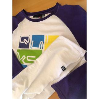 クイックシルバー(QUIKSILVER)のQUIKSILVER クイックシルバー 長袖Tシャツ M 白/紫(Tシャツ/カットソー(七分/長袖))
