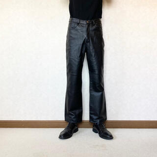 JOHN LAWRENCE SULLIVAN - semi-flare leather trousers