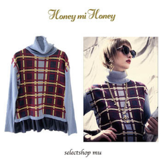 ハニーミーハニー(Honey mi Honey)のhoneymihoney ペプラムチェックタートルニット💘(ニット/セーター)