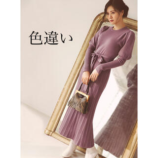GRL - リボンベルト付きリブ切り替えニットワンピース 白石麻衣さん着用