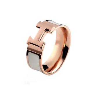 Hピンクゴールドホワイト(白)指輪リング9号