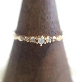 agete - アガット agete K18 ダイヤ5石 リング 7号 ルミナスリング 指輪