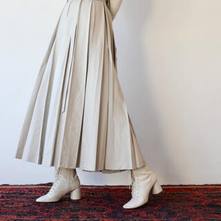 MARGARET HOWELL - foufou スーパータックロングスカート MSサイズ アイボリー
