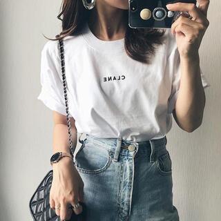 ①⑧新品 CLANE 半袖ロゴTシャツ ホワイト タグ付き