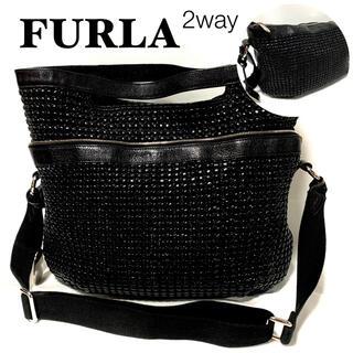 フルラ(Furla)のFURLAフルラ/黒2wayショルダーバッグハンドバッグ大容量 美品(ショルダーバッグ)