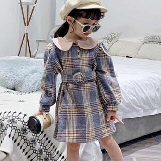 【即納】【新品】ベルト付きワンピース 120 上品 秋冬 韓国 子供服