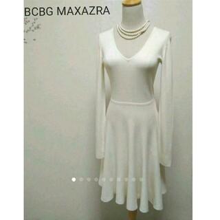 ビーシービージーマックスアズリア(BCBGMAXAZRIA)のまぁ美品BCBG MAXAZRA 白ニットワンピース/アナイ エムズグレイシー(ひざ丈ワンピース)