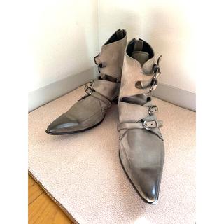 TORNADO MART - トルネードマート 本皮革レザーブーツ(4連ストラップ) Sサイズ 薄灰色