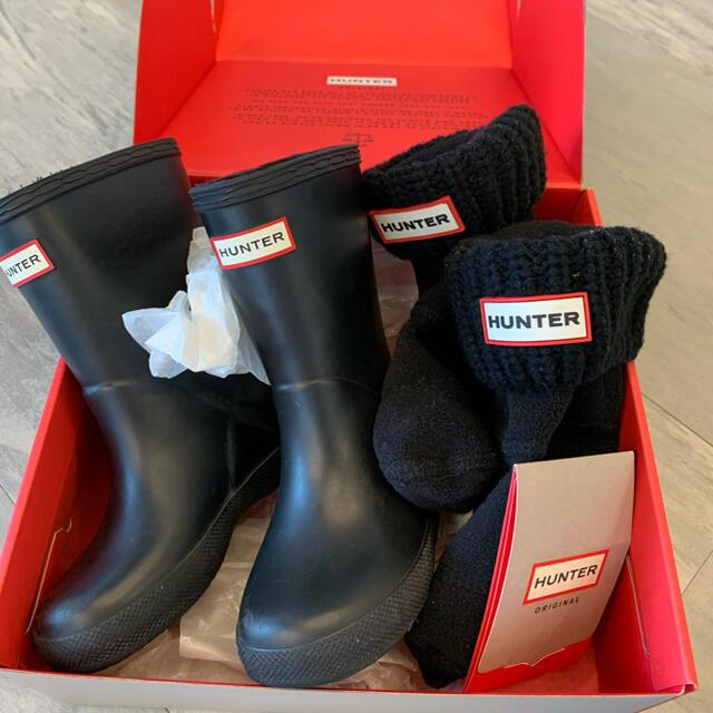HUNTER(ハンター)のハンター レインブーツ キッズ セット キッズ/ベビー/マタニティのキッズ靴/シューズ(15cm~)(長靴/レインシューズ)の商品写真