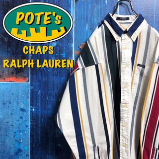 Ralph Lauren - 【チャップスラルフローレン】ポケットロゴタグカラーマルチストライプシャツ 90s