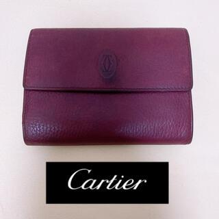 Cartier - 【お買得】CARTIER がま口 三つ折り財布 型押しレザー