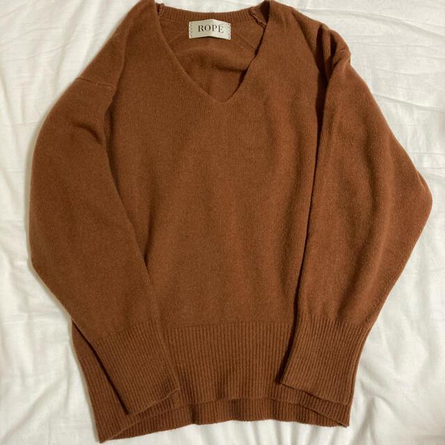 ROPE(ロペ)のロペ ウールセーブル袖ボリュームニット サイズ38  ブラウン レディースのトップス(ニット/セーター)の商品写真