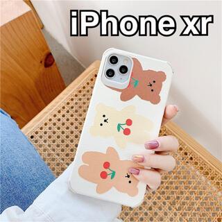 iPhone - iPhoneケース iPhone xr ホワイト クマ くま 韓国 チェリー