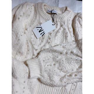 ザラ(ZARA)のタグ付き★ZARA パール付きセーター (ニット/セーター)