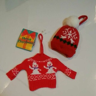 KALDI - カルディ クリスマスオーナメントミニセーターとニット帽セット 雪ダルマ1