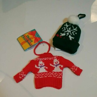 KALDI - カルディ クリスマスオーナメントミニセーターとニット帽セット 雪ダルマ2