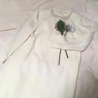 ロキエ(Lochie)の値下げ*パール襟 裾フリル アンゴラ混ワンピース(ひざ丈ワンピース)