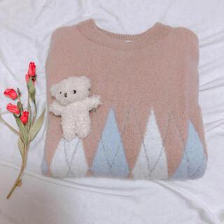 フラワー(flower)の古着 やわらか ピンクニット(ニット/セーター)