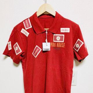 ピンクハウス(PINK HOUSE)の(新品紙タグ付き)ピンクハウス❤️ワッペンいっぱい真っ赤なポロシャツ(Tシャツ(半袖/袖なし))