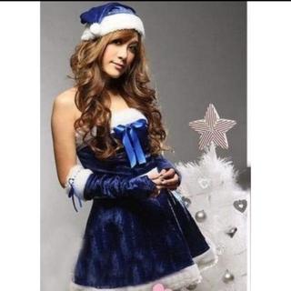 青 ブルー サンタ レディース クリスマス限定 コスプレ衣装 4点セット(衣装一式)