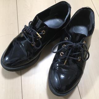 ヘザー(heather)の【最終値下げ】ヘザー  レースアップ キセカエ マニッシュ 靴 黒(ローファー/革靴)